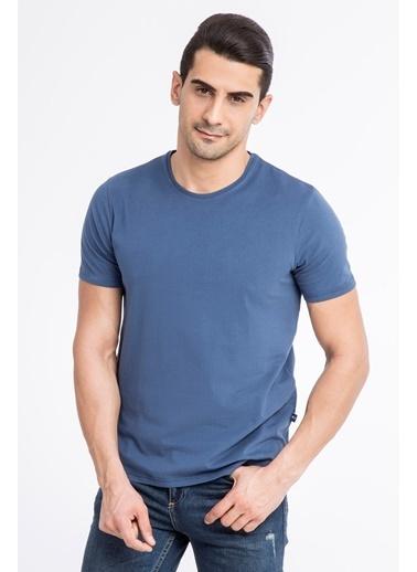 Kiğılı Slim Fit Bisiklet Yaka Tişört Mavi